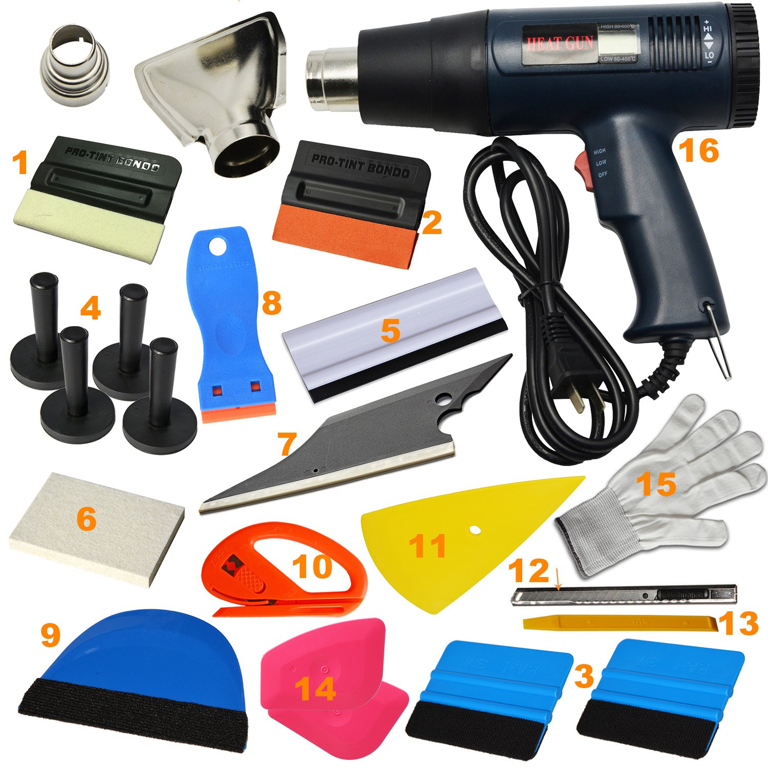 Ehdis 16 Kinds of Car Vinyl Wrap Tool Window Tint Kit for Auto Film Tinting Set Application Installation or Removal with LCD Display Heat Gun by Ehdis (Image #2)