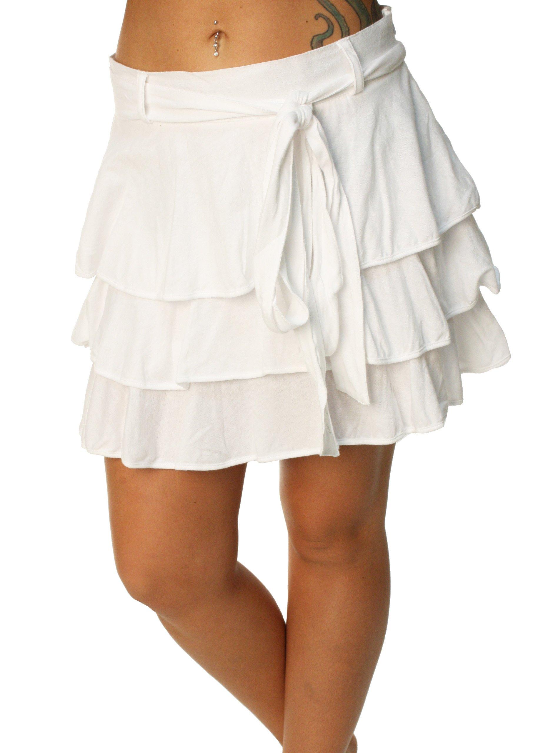 Alpinestars Women's Gauze Tiered Frill Mini Skirt-Large white