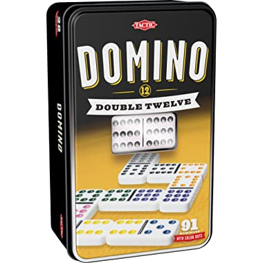 Tactic Games US Domino Double 12 Board Games, Black, 4.5  x 3  x 7.5