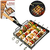 Camerons Products Skewer Rack Set for Grilling Barbecue Shish Kabobs - Removable Wooden Handle, Heavy Duty Stainless Steel - BBQ Meat, Vegetables, Fruit - (1 Rack, 4 Skewers)