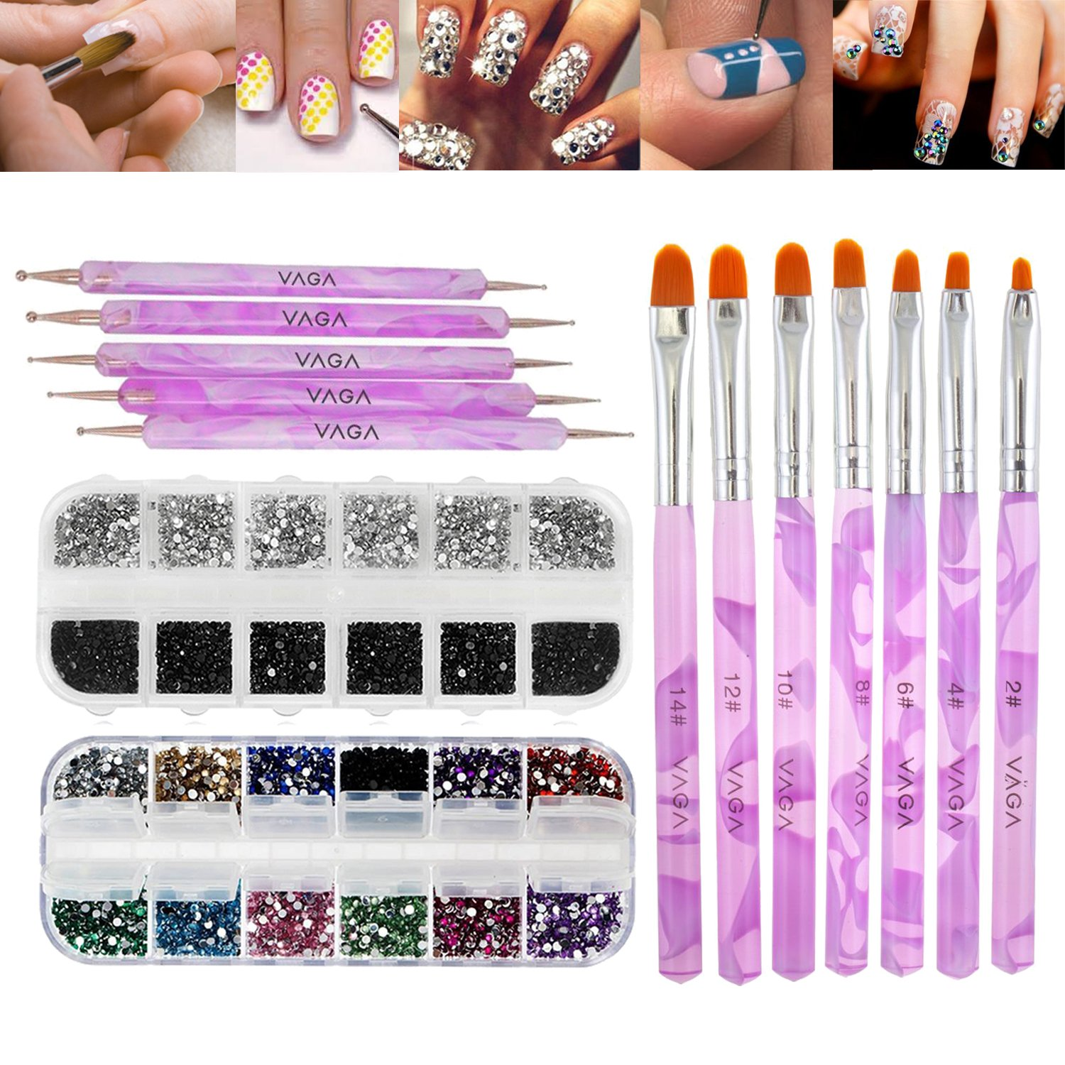 Great Value Premium Quality Professional Nail Art Accessories Set Kit With 5 Purple Double Ended Dotting / Marbling Tools / Dotters, 7 Purple Brushes / Stripers / Liners, 3000pcs Mixed Colours Rhinestones In Case And 2000pcs 2mm Round Black And Silver Crys