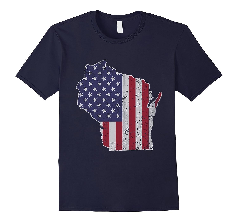 Wisconsin Patriotic American Flag Shirt-PL