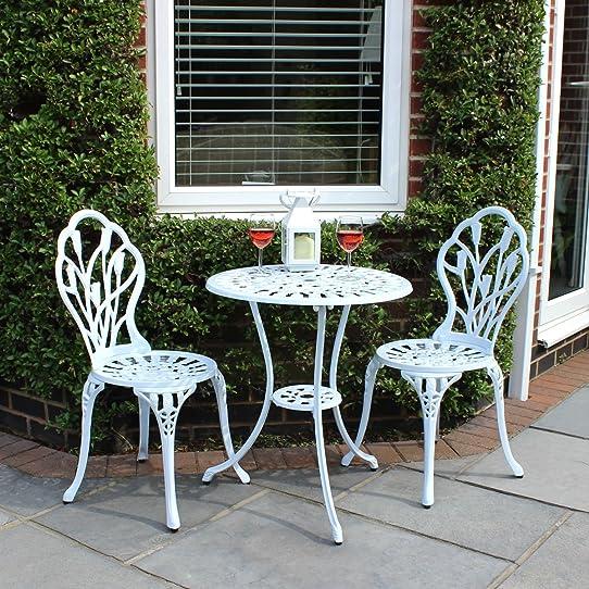 Lot de 2 chaises et 1 table motif tulipes - salon de jardin style ...