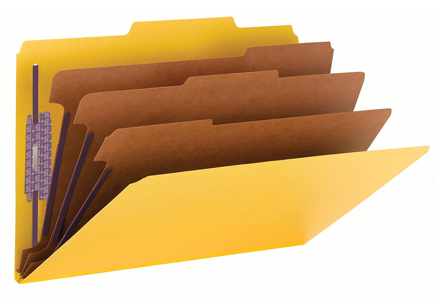 3 Expansion Classification Folders, 2/5 Cut, Legal, 8-Section, Yellow, 10/Box, Sold as 1 Box