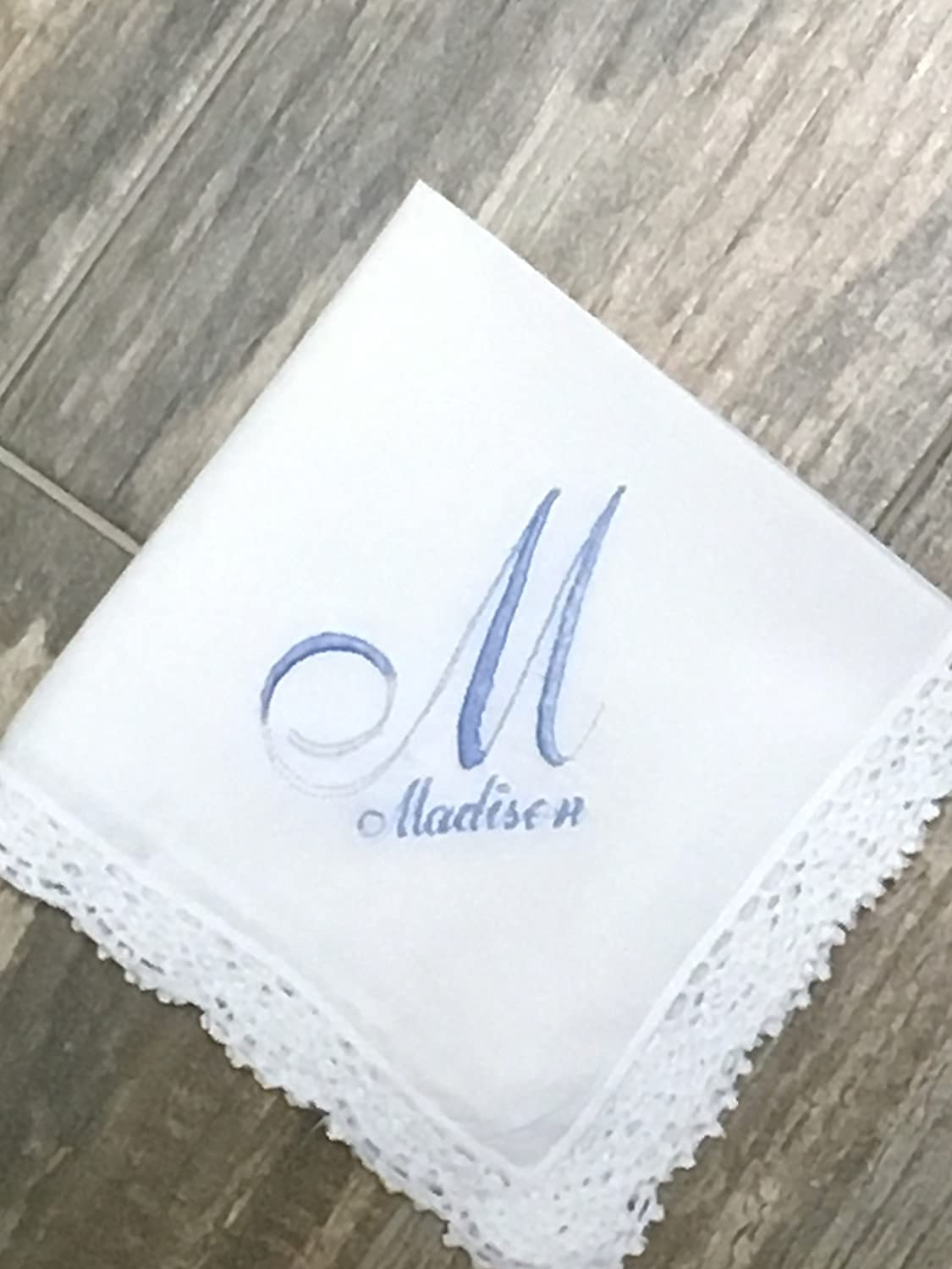 Something blue, Bridesmaid Handkerchief, wedding handkerchief, bridal gift, personalized wedding hanky, gift for bride, bouquet wrap