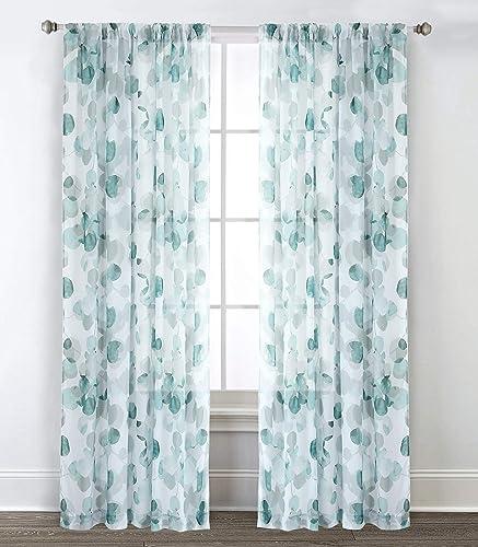 Sara B. Eucalyptus Printed Sheer Curtain Panel Set