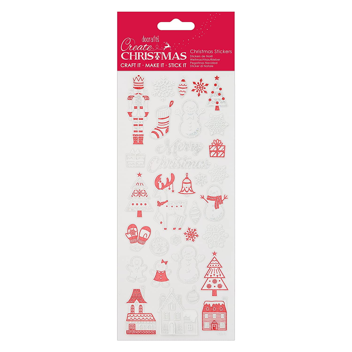 Red Create Christmas Stickers One Size