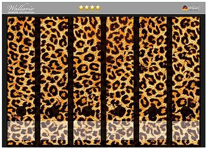 Archivadores pegatinas de piel de leopardo, naranja negro en tamaño 36 x 30 cm alta