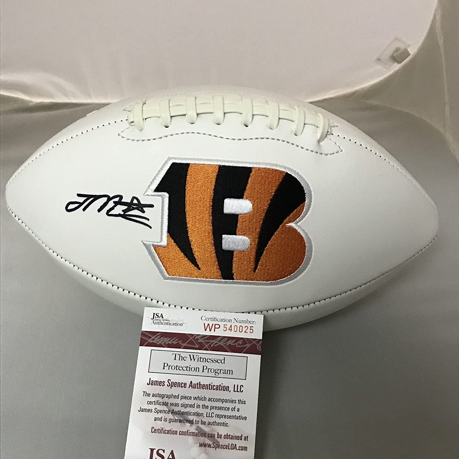 Autographed/Signed Joe Mixon Cincinnati Bengals FS White Panel Logo Football JSA COA