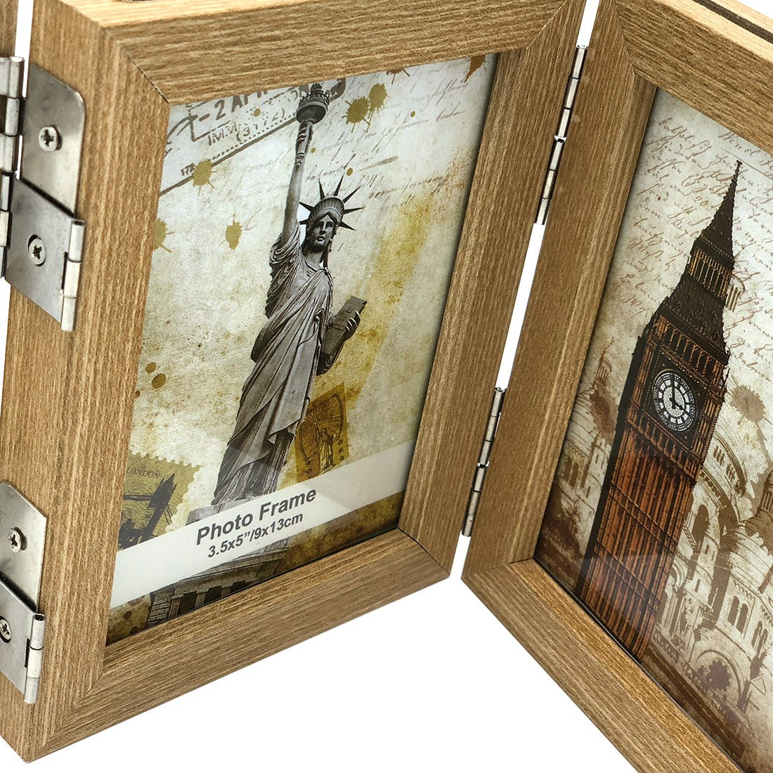INEYMALL Wooden Photo Frame Folding 3 Stage Photo Frame With Glass 3.5x5 (beige) by INEYMALL (Image #3)
