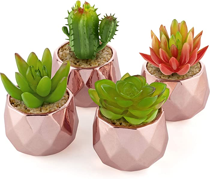 Artificial Succulent Plants - Rose Gold Ceramic Pots for Home Decor - Set of 4 - 2 inch/5cm Planters - Perfect for Indoors and Outdoors - Living Room, Kitchen, Bathroom, Office, Desk, Bedroom (Green)
