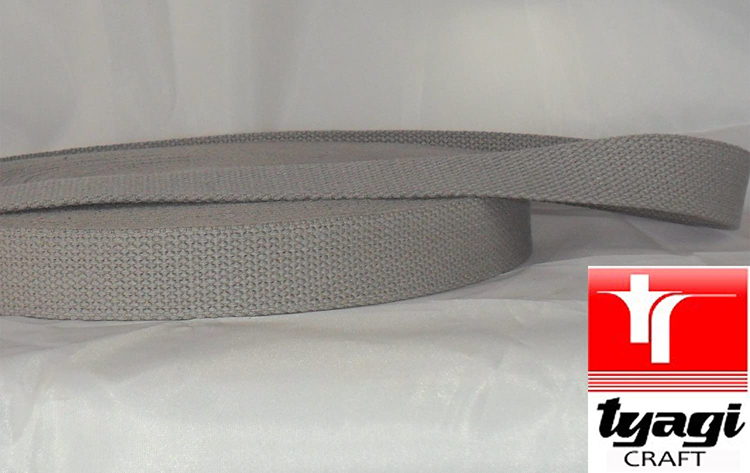 25mm Pure Cotton Tape Strong Thick Webbing Strap Tent Upholestry Bags Edging Craft Light Grey 1MTR Tyagi Craft