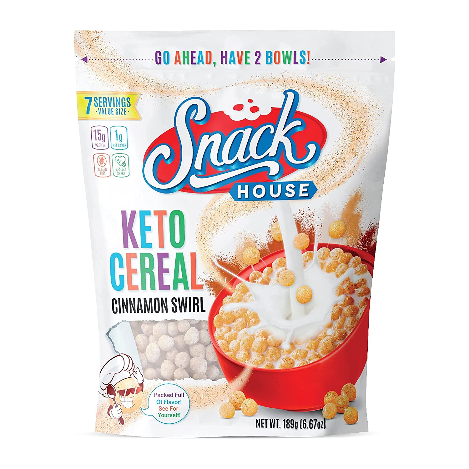 Keto Cereal by Snacks House, High Protein Low Carb Healthy Breakfast Food for Kids & Adults – Zero Added Sugar – Paleo, Diabetic, Ketogenic Diet Friendly Toast Cereals – 7 Serving Cinnamon Crunch
