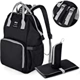 Upgraded Version-UTO Diaper Bag Multi-Function Large Capacity Waterproof Travel Backpack Nappy Bags for Baby Care Stylish Durable Outdoor Rucksack Black