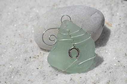 Sea Foam Sea Glass Ornament with a Silver Horse Shoe Charm