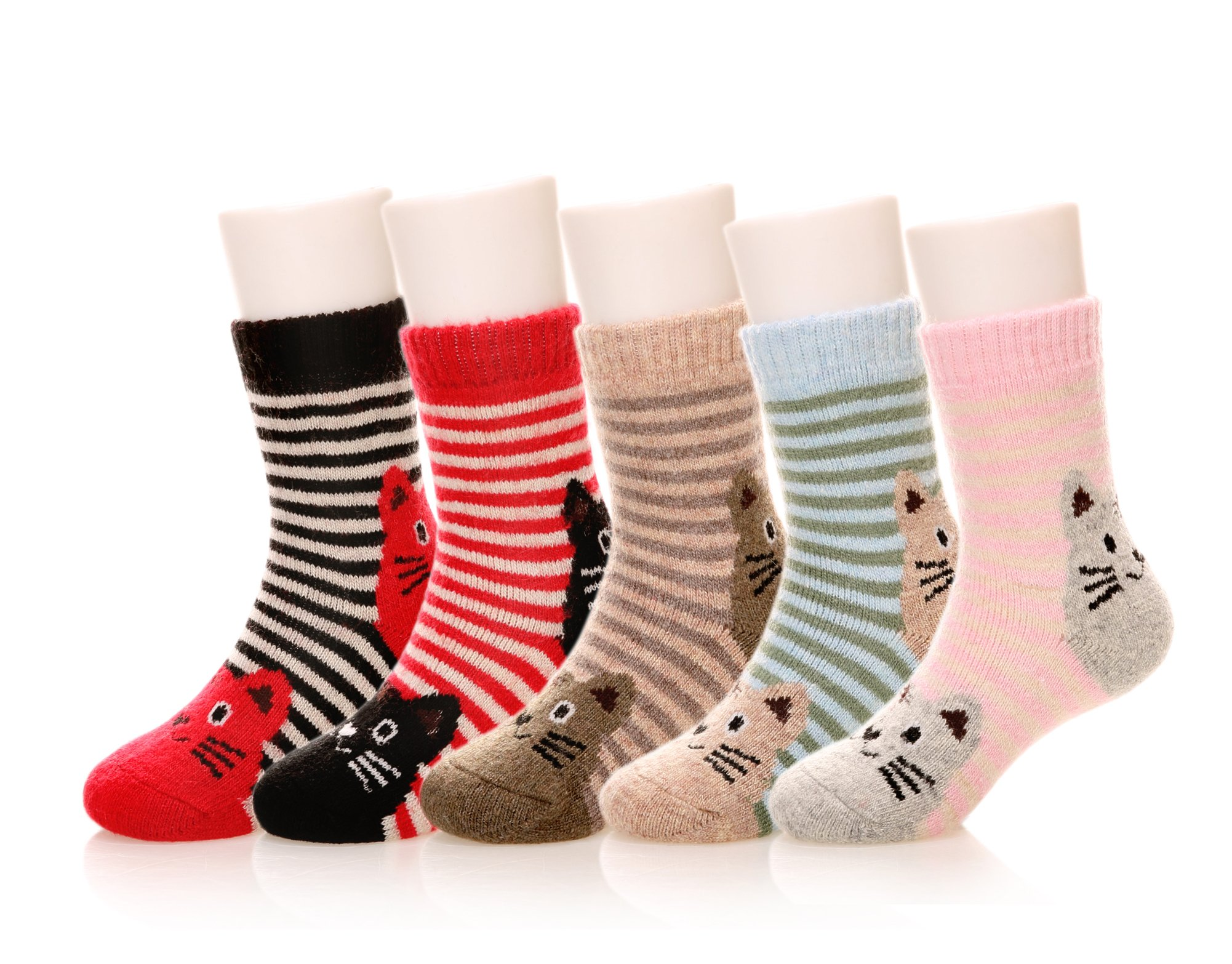 Eocom 5 Pairs Children's Winter Warm Wool Animal Crew Socks Kids Boys Girls Socks(4-7 Years,Cat)
