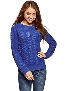 oodji Collection Mujer Jersey de Punto Texturizado con Trenzas ... 3606a6a37116