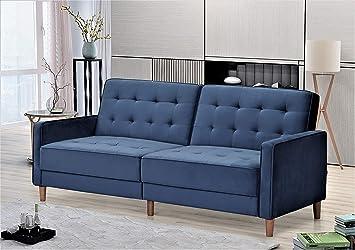 Container Furniture Direct Nia Modern Velvet Upholstered Tufted Sleeper Sofa Bed 80 1 Deep Blue Furniture Decor