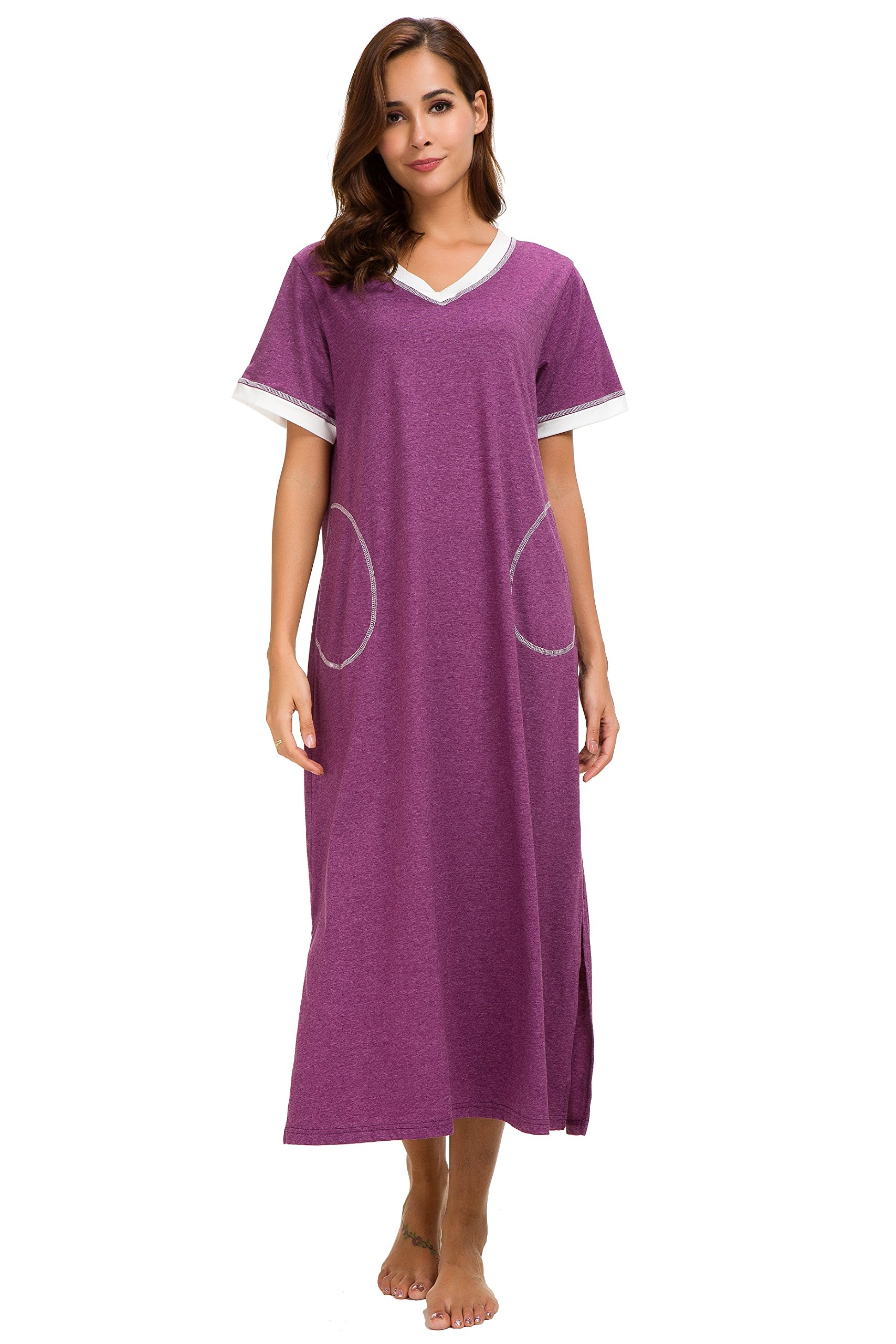 Aviier Long Nightgown with Side Pockets V Neck Short Sleeve Maxi Sleepshirt Ultra Soft (Purple, L)