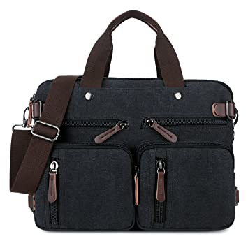 BAOSHA HB-22 Vintage Canvas Men s Briefcase Backpack Messenger Convertible Laptop  Bag Handbag Backpack Travel ebd58baa3