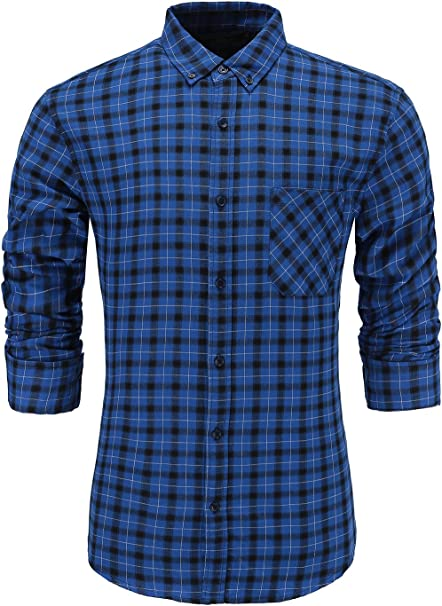 ## Men/'s Slim Fit Long Sleeve Plaids Check Cotton Casual Slim Dress Shirts Tops