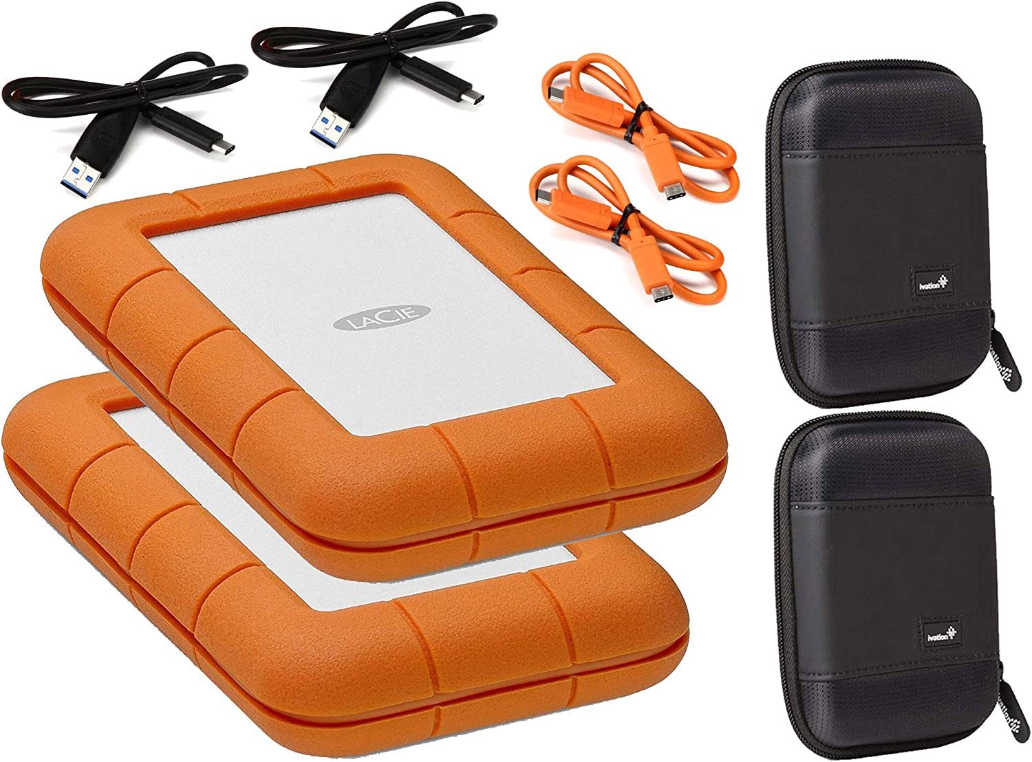 Lacie 2 Pack Rugged 2TB Thunderbolt & USB 3.1 Gen 1 Type-C External Hard Drives Compatible with Mac and PC - Water and Drop Resistance with Compact Pocket Cases