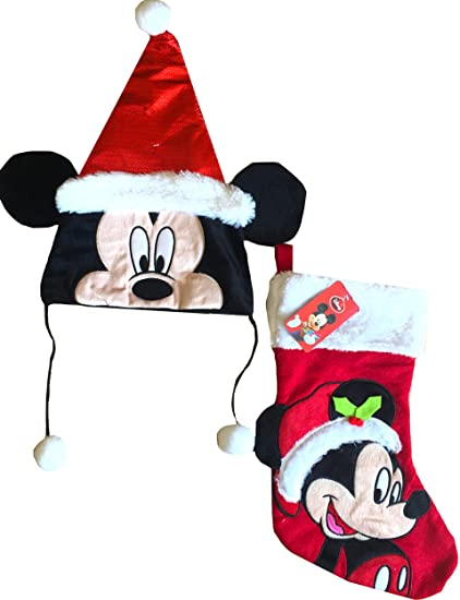 mickey mouse christmas santa hat with minnie mouse christmas stocking gift set red - Mickey Mouse Christmas Stocking