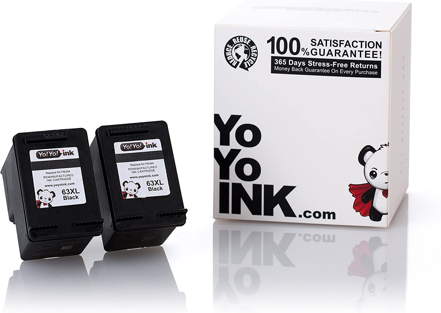 YoYoInk Remanufactured Ink Cartridge Replacement for HP 63 63XL High Yield (2 Black)