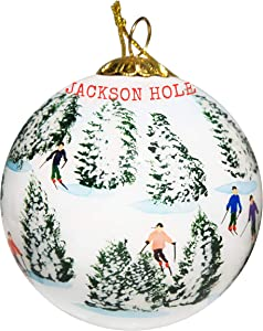 Art Studio Company Hand Painted Glass Christmas Ornament - Skiing The Glades - Jackson Hole Wyoming