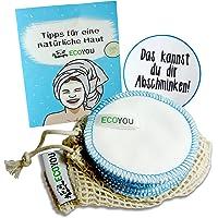 EcoYou Waschbare Abschminkpads aus 100% Baumwolle INKL. Wäschenetz aus Baumwolle + Hautpflege Guide - Wiederverwendbare Abschminktücher - Wattepads zum Aufhängen - 10 Stück + Sticker