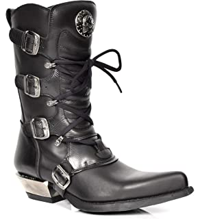 RETRO Black Leather Boots New Rock Rockstar Style Grey Flame Design Latest Shoes