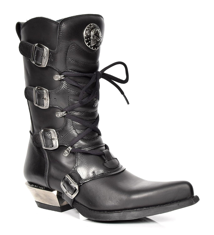 New Rock Herren Cowboy Stiefel Schwarz Schnallen Design Spitzer Zeh Leder Western Schuhe