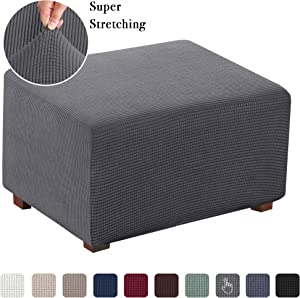 Stretch Ottoman Slipcover Folding Storage Stool Furniture Protector Soft Rectangle slipcover with Elastic Bottom (Oversized Ottoman, Charcoal Gray)