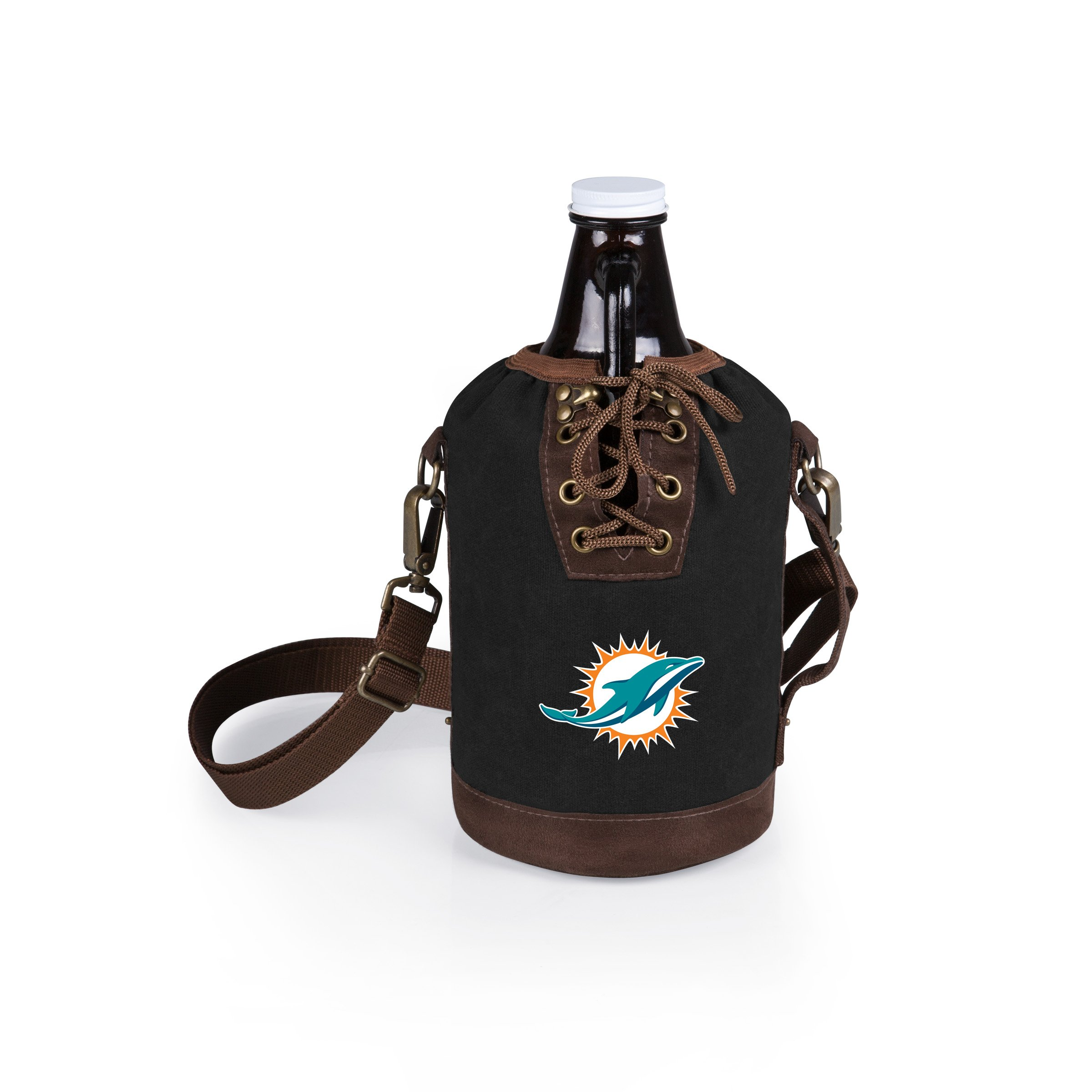 PICNIC TIME NFL Miami Dolphins Canvas Lace-up Growler Tote with 64 oz Amber Glass Growler, Black