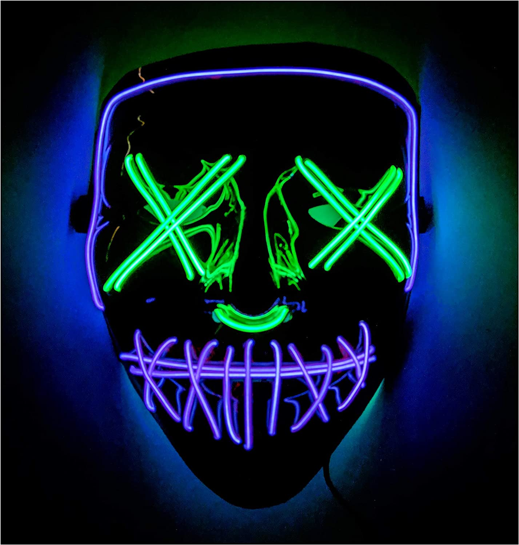 Double Color Led - Halloween Led Mask - Led Face Mask - Led Purge Mask - Prime by BAYDELKU