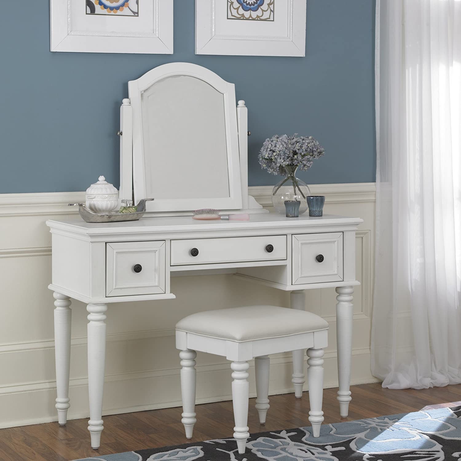 Amazon.com: Home Styles Bermuda Vanity and Bench, White Finish ...