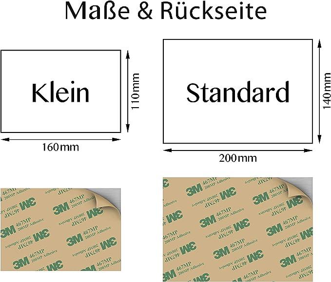 Befestigung ohne Bohrl/öcher Edelstahl Hausnummer mit Gravur 160x110mm Variante 1 T/ürschild ist witterungs- und UV-best/ändig Hausnummernschild inkl 3M Aufkleber