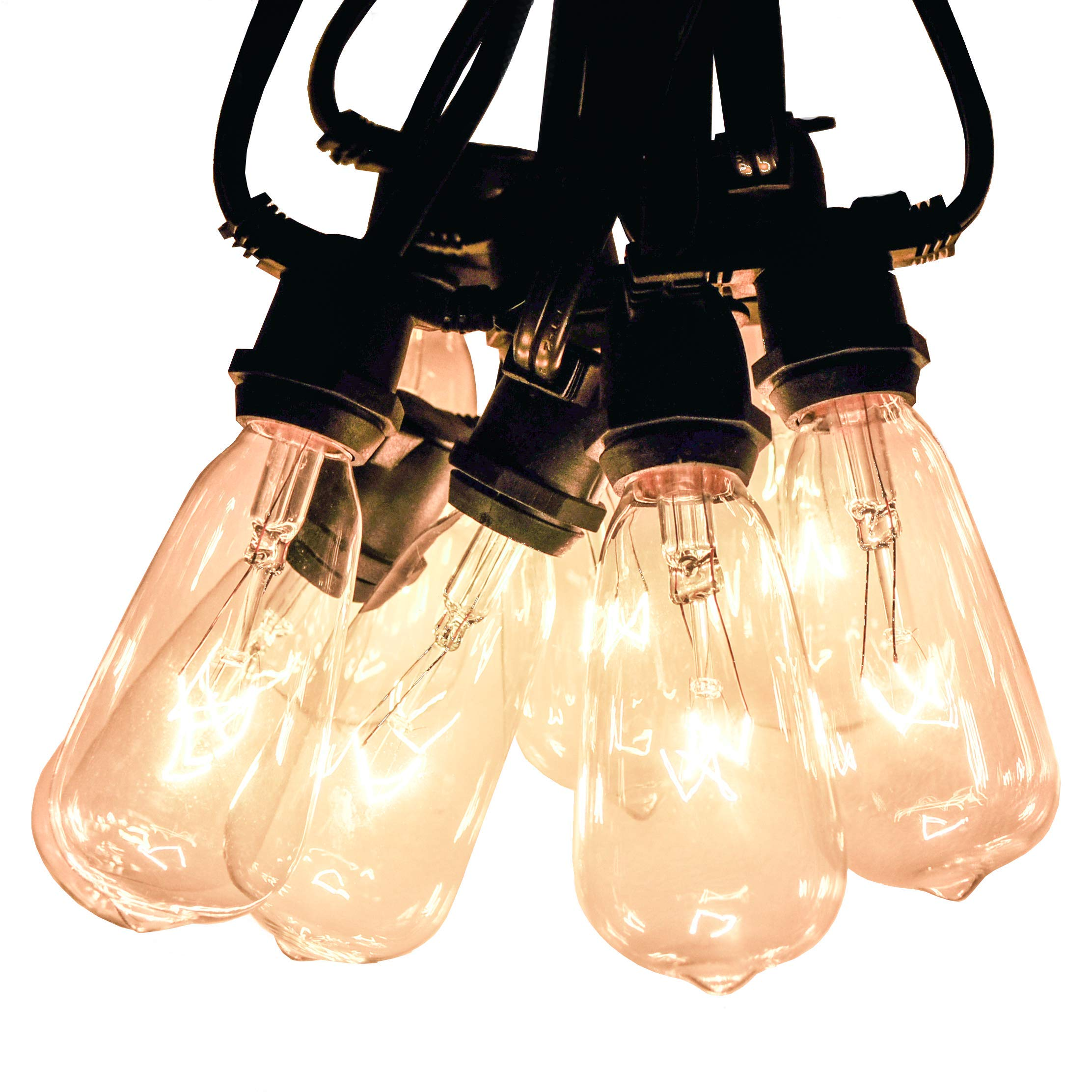 Hometown Evolution, Inc. Vintage Outdoor String Lights (100 Ft, ST40 Clear Bulbs - Commercial Black Wire)