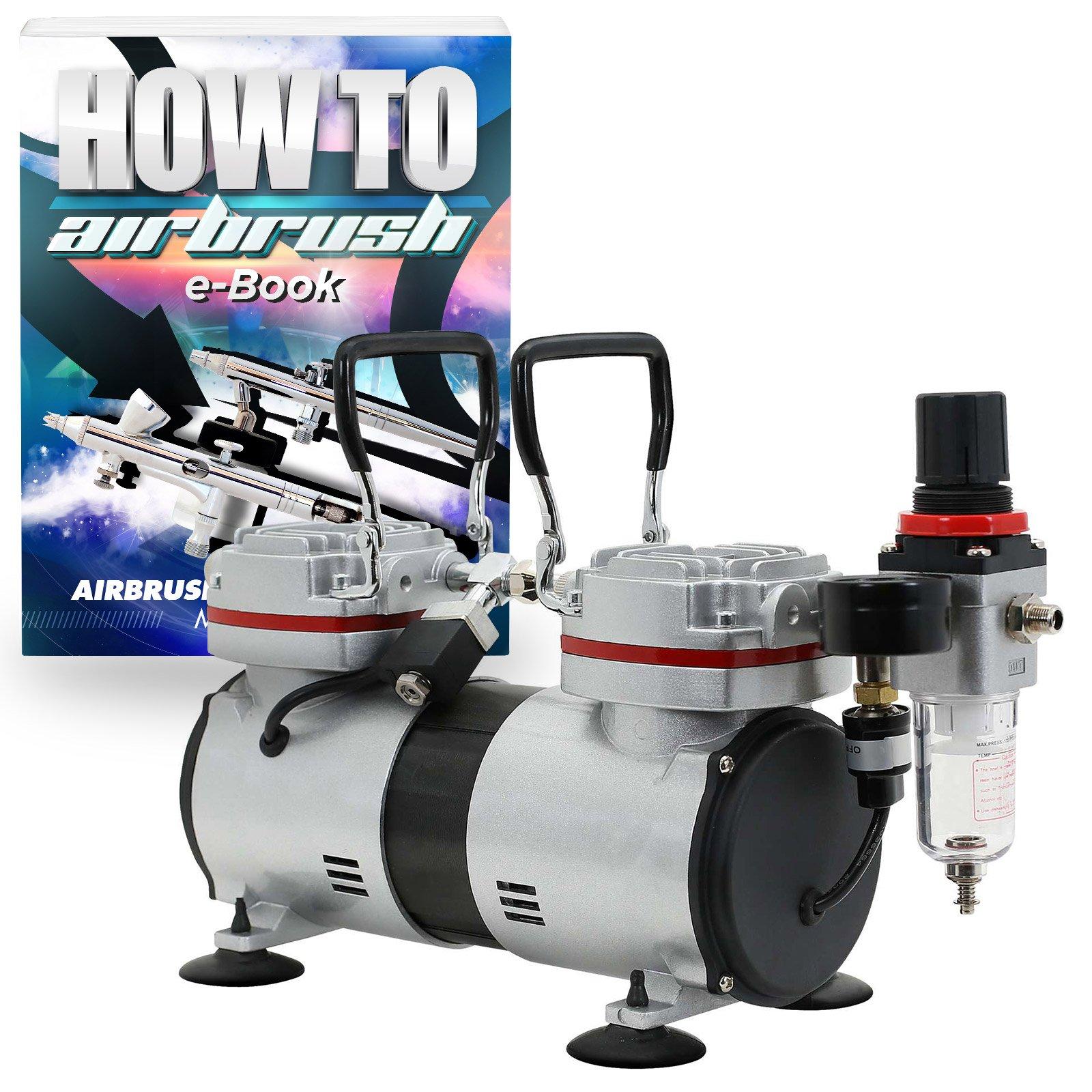 PointZero 1/3 HP Twin Piston Airbrush Compressor