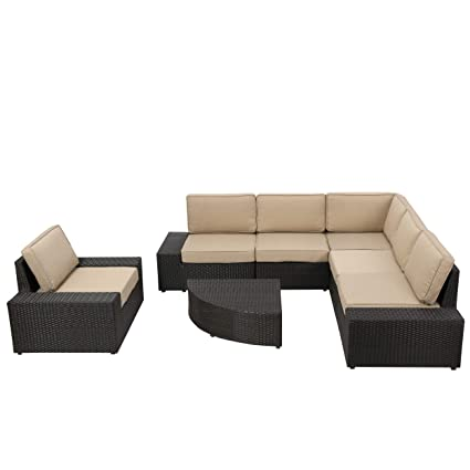 Pleasing Santa Cruz Outdoor Wicker Furniture Set Sectional Table And Chair For Patio Or Lawn With Cushions In Brown And Beige 7 Piece Andrewgaddart Wooden Chair Designs For Living Room Andrewgaddartcom