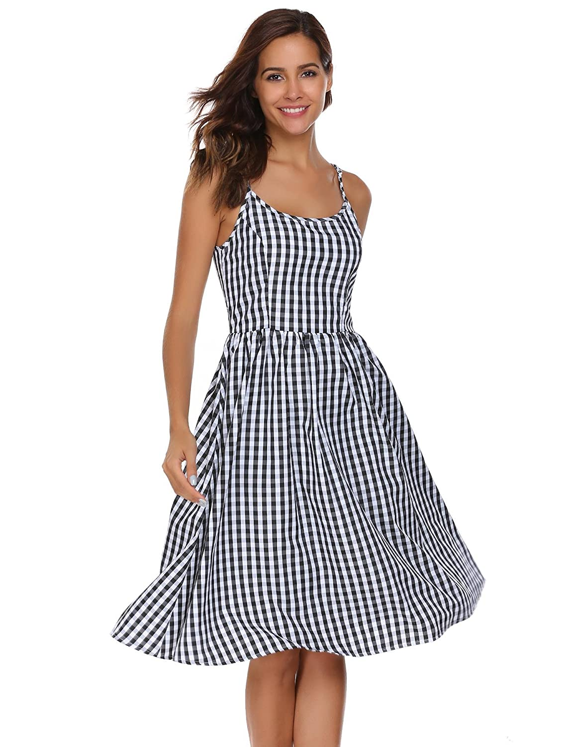 ACEVOG Women's Casual Style Sleeveless Spaghetti Straps Fit and Flare Plaid Dress