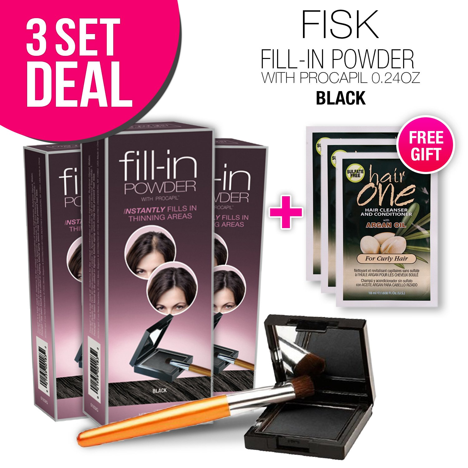3-PACK Cover Your Gray Fill-in Powder with Procapil, (Black) with Free Sulfate-Free Shampoo