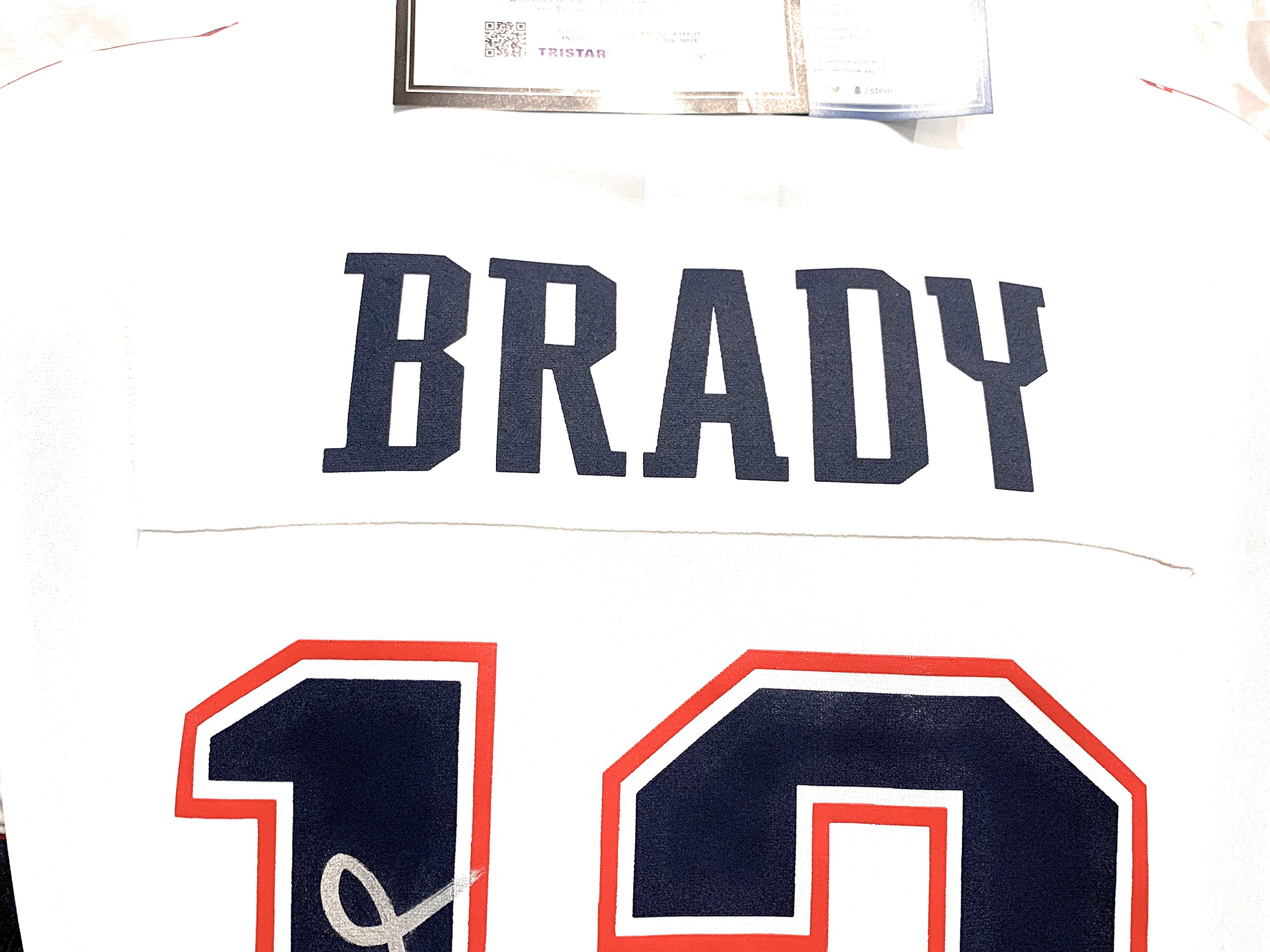 Tom Brady New England Patriots Signed Autograph Nike Replica White Jersey #1 Tristar Authentic & Steiner Sports Dual Certified