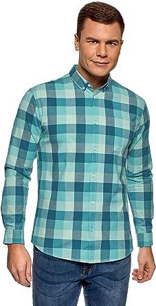 oodji Ultra Hombre Camisa a Cuadros de Algodón: Amazon.es: Ropa y ...