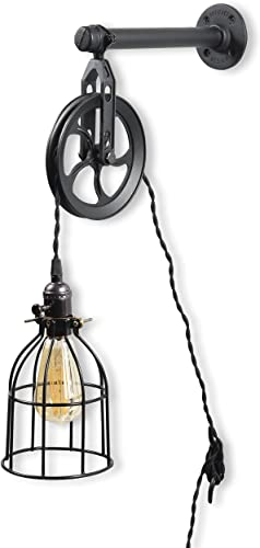 Rustic State Vintage Chic Unique Industrial Pipe and Pulley Design Wall Pendant Lamp