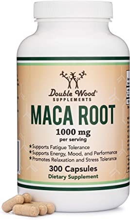 Double Wood Supplements Maca Root Capsules - 300 Count, 1000mg Servings - Maca Root Extract Aids in Boosting Energy and Mood - Black, Red, Yellow Maca Powder - Vegan Health Aid Pills for Men, Women