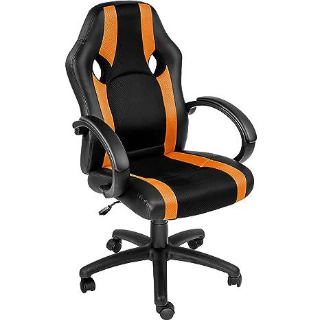 TecTake Silla de Oficina Sillon de despacho Ejecutivo Estudio giratoria Racing (Naranja | no. 402157)
