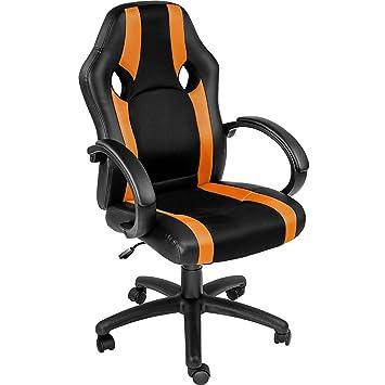 TecTake Silla de Oficina Sillon de despacho Ejecutivo Estudio giratoria Racing (Naranja | no. 402157): Amazon.es: Hogar