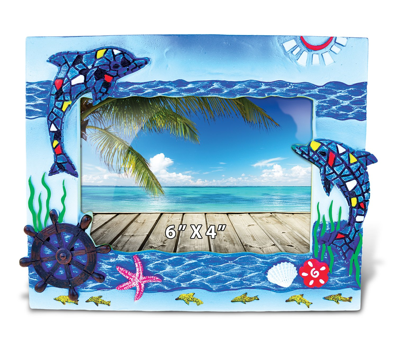 Puzzled Dolphin Blue Nautical Mosaic Picture Frame - Ocean Theme 4 x 6 Inch Resin Photo Holder - Elegant Animal Home Decor Wall Table Top Memory Gift Ideas - Item 9503