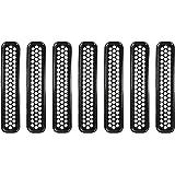 u-Box Black Honeycomb Front Grill Mesh Inserts for 1997-2006 Jeep Wrangler TJ & Unlimited - 7PCS